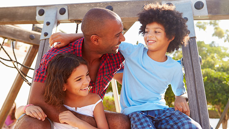 What kind of life insurance policy do I need?: dad on the playground with his kids