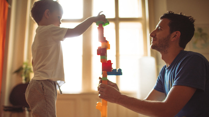 Child Life Insurance – Father and son building with blocks