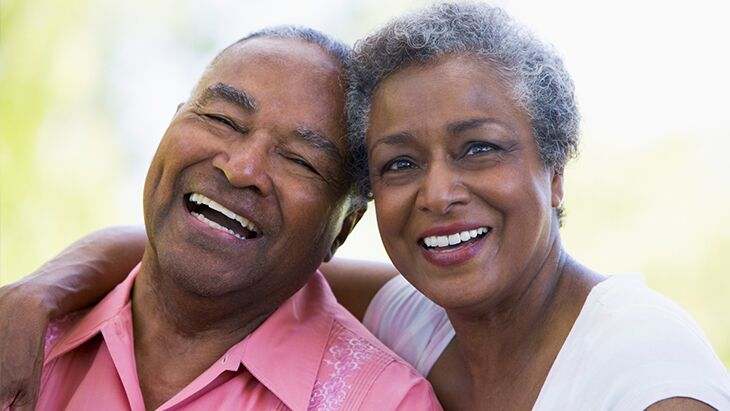 Elderly couple smiling