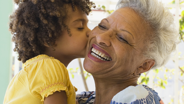 Guaranteed acceptance life insurance – child kissing grandmother
